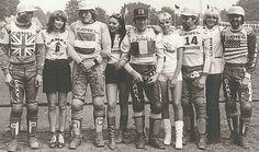 Vintage motocross; Graham Noyce, Gerrit Wolsink, Roger Decoster, Heiki Mikkola, Brad lackey & grid girls.