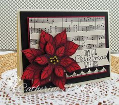 Catherine Pooler: Creativity Grows Here – Copic Marker Video Tutorial, Poinsettia Christmas Card - 11/1/13.  (SU: Joyful Christmas stamps; Modern Medley dsp).  Copics: R24, 29, 59; Y18.