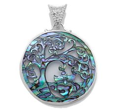 Silver by Sajen Sterling Silver Carved Shell Cut Out Pendant