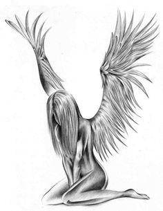 Mädchen-Engel als Tattoo-Motiv- Vorlage