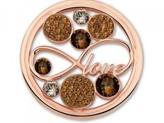 Mi Moneda Coin: Love Peach Stainless Steel Rose Gold Plated Open Disc With Swarovski Crystals Size: Large Collection: Love | Silver Pendants from SVS Fi...now 50% off and FREE SHIPPING on all orders! Hurry while supplies last!