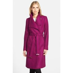 Ted Baker London 'Lorili' Funnel Neck Wool Blend Wrap Coat (4 785 SEK) ❤ liked on Polyvore featuring outerwear, coats, pale purple, funnel neck coat, ted baker, funnel coat, wool blend wrap coat and purple coat