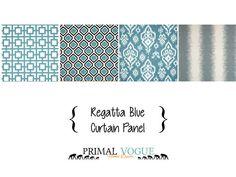 Regatta Grey Sky Blue Curtain Panel with by PrimalVogueHomeDecor