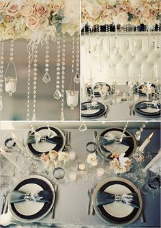 Garland-style centerpiece with hanging crystals and votives