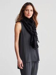 ac8942fa221f8 Wrap in Organic Cotton Twill Pompom-S7PPL-A1988. Eileen FisherScarf ...