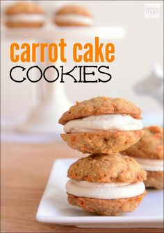 This is Walt Disney World Copycat Carrot Cake Cookie Recipe is part cookie, carrot cake, cream cheese frosting, and part Little Debbie Oatmeal Cream Pie. Mini Desserts, Just Desserts, Delicious Desserts, Dessert Recipes, Cake Recipes, Brownie Recipes, Baking Recipes, Carrot Cake Cookies, Yummy Cookies