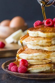 Buttermilk pancakes, Perfectly fluffy and ready for butter and syrup. Make these and share them with someone you love this weekend! What's For Breakfast, Breakfast Items, Breakfast Dishes, Breakfast Recipes, Brunch Recipes, Sweet Recipes, Dessert Recipes, Waffle Recipes, Buttermilk Pancakes Fluffy