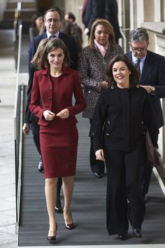 Queen Letizia of Spain (L) and Spanish Vice President Soraya Saenz de Santamaria (R) visit the Royal Palace on February 10, 2016 in Madrid, Spain.