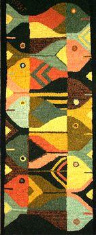 "Fish Wall Hanging (design to hook) Size: 12"" x 32"" Burlap - $44.95 Linen - $60.68 Design by Susan Leslie"