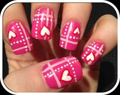 Pink with Hearts & Plaid Valentine's Day Nails