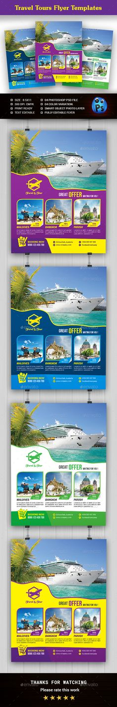 Travel Tours Flyer Design Templates - Holidays Events Flyer Design Template PSD. Download here: https://graphicriver.net/item/travel-tours-flyer-templates/19393252?ref=yinkira