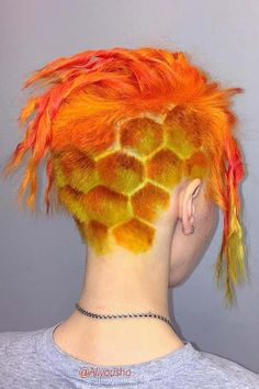 31 Different And Creative Undercut Designs For Bold Modern Ladies , Fiery Honeycomb Undercut ❤️ Do you know how unique your look can be with undercut designs? Undercut Designs, Undercut Hairstyles, Cool Hairstyles, Hair Undercut, Wedding Hairstyles, Shaved Hair Designs, Fire Hair, Hair Patterns, Corte Y Color