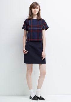 Le Ciel Bleu Tartan Cropped Tee and Spatial Skirt