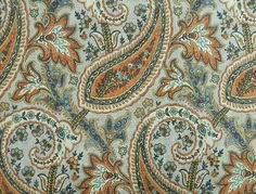 Waverly Williamsburg Plumtree Paisley Persimmon fabric features a Williamsburg historical document design. From the Williamsburg Classics fabric collection Paisley Color, Paisley Fabric, Tribal Pattern Art, Gray Background, Window Treatments, Fabrics, Yard, Wool, Patterns