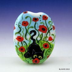 """POPPY HUNTER"" byKAYO a Handmade CAT & FLOWER Lampwork Art Glass Focal Bead SRA"