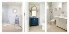 Bath Ideas, Bathroom Ideas, White Beadboard, Benjamin Moore White, Free Standing Cabinets, Beach Place, Pinterest Home, Half Walls, Pedestal Sink