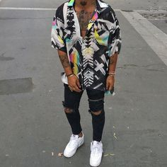 Street Fashion Loose Contrast Color Printed Shirt Street Fashion Loose Contrast Color Printed Shirt,looks Outfits Black Men Street Fashion, Mens Fashion, Black Men Summer Fashion, Vintage Summer Outfits, Style Masculin, Stylish Mens Outfits, Mens Clothing Styles, Streetwear Fashion, Printed Shirts