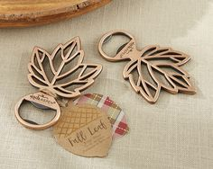 Copper Leaf Fall Wedding Bottle Opener Favors - Affordable Elegance Bridal -