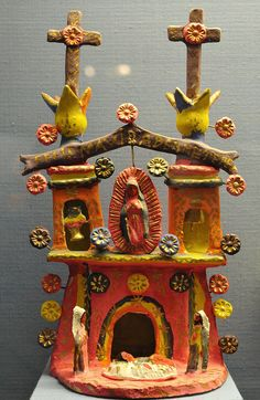Little Church Mexico This small but colorful ceramic church features the Virgin of Guadalupe looking over Mary, Joseph and Baby Jesus. Made in Metepec, Mexico Frida Art, Art Tribal, Mexican Folk Art, Mexican Artwork, Outsider Art, Religious Art, Ceramic Art, Creations, Arts And Crafts