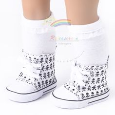 """Cons Canvas Sneakers Shoes Skull White for 18"""" American Girl dolls $6.99"""