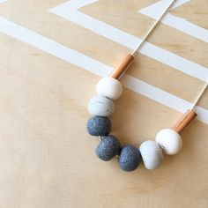 Polymer clay bead necklace. Granite marble white with by RafHop