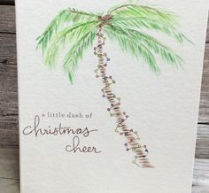 Hand-painted palm tree with Christmas lights holiday greeting card; Watercolor tropical Christmas card; Beach Christmas; ORIGINAL Watercolor art,
