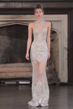 Stunning Embroidered Backless Silver Mermaid Halter Wedding Dress / Wedding Gown with Open Shoulders, Open Back and a Train. Fall Winter 2017 / 2018 Bridal Couture Collection. Runway Show by Berta. Gala Dresses, Couture Dresses, Fashion Dresses, Miss Dress, The Dress, Moda Chic, Beautiful Gowns, Elegant Dresses, Winter 2017