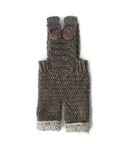 Crochet Baby Overalls Made To Order Brown by HookedByNurseSharon, $32.00
