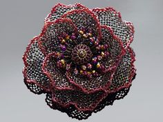 Beadwoven brooch by Handmade Beaded Corsage, a Japanese maker of fine corsages.