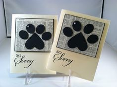 "Paw Print Punch Art... ""So Sorry"" Doggie Card"