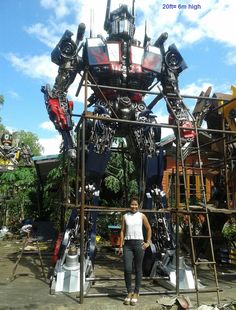 huge 6 meter tall optimus prime transformers statue, life size scrap metal art from thailand