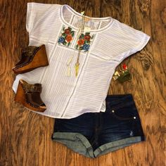 Just in: boho embroidered top    demon shorts   SBICCA leather wedges @bluesandshoes #california #carlsbad #shoes #sandals #wedges #summer #boho #bohemian #style #fashion #spring #2015