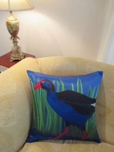 Pukeko on the Couch - Cushions and Covers by Chelsea Design NZ.