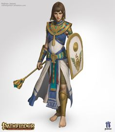 f Cleric Medium Armor Shield Robes Mace urban City Temple female Traveler ArtStation Wadjet by Nathanael James Female Character Concept, Fantasy Character Design, Character Design Inspiration, Character Art, Dnd Characters, Fantasy Characters, Female Characters, Rpg Pathfinder, Character Design