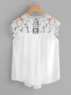 Shop Keyhole Back Daisy Lace Shoulder Shell Top online. SheIn offers Keyhole Back Daisy Lace Shoulder Shell Top & more to fit your fashionable needs. Summer Blouses, Summer Tops, Blouse Styles, Blouse Designs, See Through Blouse, Romper With Skirt, Shell Tops, White Caps, Hippie Style