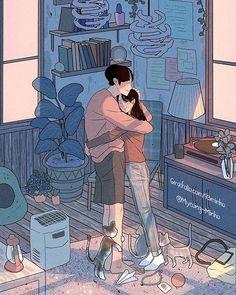 ideas for wallpaper celular fofo casal namorados Cute Couple Drawings, Cute Couple Art, Anime Love Couple, Love Drawings, Aesthetic Anime, Aesthetic Art, Couple Illustration, Illustration Art, Illustrations