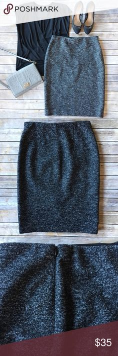 Ann Taylor Wool Pencil Skirt Perfect skirt for your winter work wear wardrobe. Fabric content is 50% wool, 43% cotton and 7% nylon. Lining is 100% polyester. Fabric does have a little stretch to it. Skirt has a side zipper and hook closure with elastic around waist providing a nice stretchy waist line. Excellent used condition, no flaws. Skirt length is approximately 25 inches. Ann Taylor Skirts Pencil