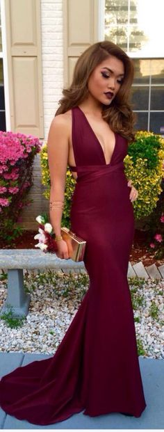 Sexy Mermaid Open Back Evening Dresses,Mermaid Deep Burgundy Prom Dresses,Sexy V-Neckline Graduation Party Dresses