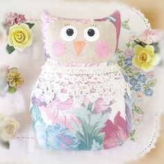 OWL Pillow Doll, 9 inch Soft Sculpture Owl, FLORAL , Shabby Chic, Prim Primitive Handmade Handcrafted CharlotteStyle Decorative Folk Art