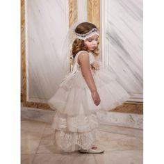 Βαπτιστικό φόρεμα Dolce Bambini από δαντέλα και τούλι σε εκρού απόχρωση, Επώνυμα βαπτιστικά ρούχα για κορίτσι οικονομικά, Dolce Bambini βαπτιστικά ρούχα κορίτσι τιμές-προσφορά, Φόρεμα βάπτισης νέες παραλαβές eshop