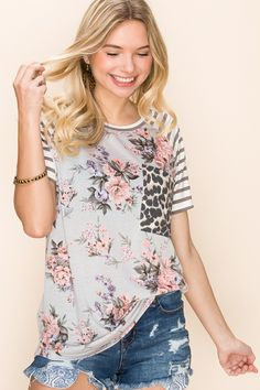 Scoop Round Neck T-Shirt Top, Flower Print Body With Stripes Print Contrast On Short Sleeves,Small Cheetah Print Pocket On Front,Relaxed Fit *Model height wearing a small size Preorder ships in 2 to 4 weeks Stripe Print, Cheetah Print, Neck T Shirt, Fitness Models, Floral Tops, Short Sleeves, Stripes, Boutique, How To Wear