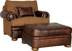 Mayo Furniture 7500LFA Leather/Fabric Chair and Ottoman - Downing Woodland  sc 1 st  Pinterest & 38 best Mayo Leather and Leather/Fabric Chairs images on Pinterest ...
