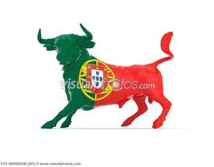 Portuguese Bull With Flag Illustration Portugal National Football Team, Portuguese Flag, Tattoo Lettering Styles, Image Photography, Free Photography, Photos Tumblr, Azores, Flags Of The World, Royalty Free Photos