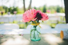 turquoise mason jar wedding flowers