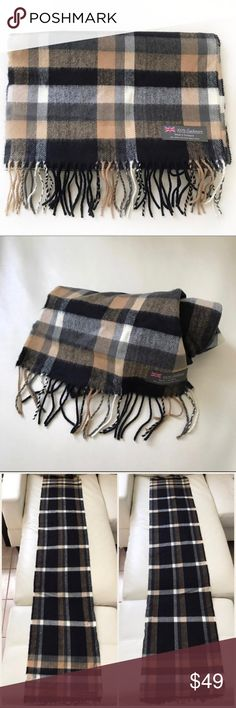 """TARTAN PLAID cashmere chic scarf made in Scotland This chic scarf is made from 100% cashmere! Feels great on the skin and is perfect for winter, spring or fall! Sophisticated tartan plaid pattern is reminiscent of Burberry check. Classier than a bandanna. Made in Scotland.  Length 66"""" Width 11.5"""" Fringe length 3.25"""" Kim City Accessories Scarves & Wraps"""