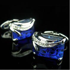 Luxry Blue Deep Sea Gem Austria Crystal Men's Cufflinks Cuff Links Nail with Cufflinks Box--Cheap Wholesale