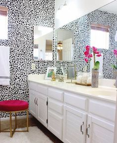 This ever popular Dalmatian wall is on trend right now in a variety of wall treatment methods. Ive created individual vinyl decal stickers for you to apply however you choose to achieve a wallpaper look but totally customizable. The give you the look of wallpaper without the commitment and application headache.  Sheets are 12x18 inches and cover about 2-4x that space depending on how far apart you place each spot.  YES, you will need to peel and stick each individual decal but its totally…