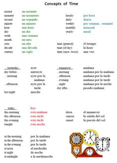 concepts of time in spanish free worksheet lesson introduction poster today yesterday tomorrow night day