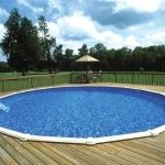 round above ground pool with wood deck in backyard