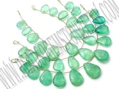 Green Fluorite Smooth Pear (Quality C) (3Strands) / 8x11 to 15x20 mm / 20 to 22 Grms / 18 cm / FL-051 by GemstoneWholesaler on Etsy